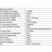 Tabel date tehnice Panou Solar 1